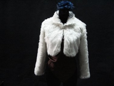 BRIDAL WEDDING OFF WHITE BOLERO ; FAUX FUR SHRUG ; WEDDING WRAP SHAWL SCARF#sh22