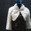Off White Wedding Bridal Long Sleeve Faux Fur Shawl ;Wedding Bolero Jacket Wrap#sh24