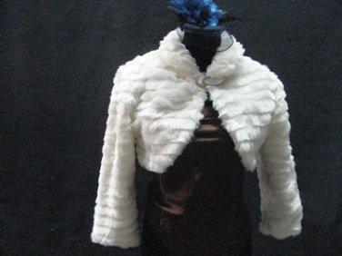 Off White Wedding Bridal Long Sleeve Faux Fur Shawl ;Wedding Bolero Jacket Wrap#sh24