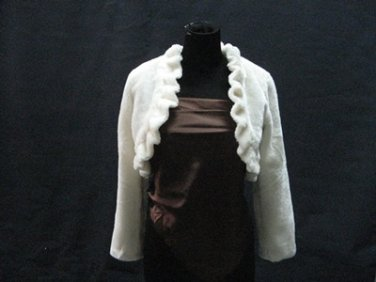 Off White Wedding Bridal Long Sleeve Faux Fur Shawl ;Wedding Bolero Jacket Wrap#sh25