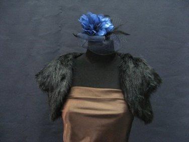 Wedding Bridal Sleeve Faux Fur Shawl ; Black Wedding Bolero Jacket Wrap#sh28bk
