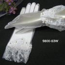 Organza White French Lace Bridal Gloves ;Fancy Bride Gloves #63w