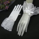 Crochet White cute bow Bridal Gloves ;Fancy organza Wrist Bride Gloves #5i