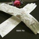 Finger-less Ivory Bridal Gloves ;Elbow satin lace Bride Gloves #70i