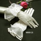 Ivory Pearl Bridal Gloves ;Wrist Organza french lace Cute bow Bride Gloves #2i