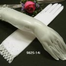 Ivory Pearl Bridal Gloves ;elbow Organza french lace Pearl Bride Gloves #14i