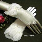 Fringer-less Ivory Bridal Gloves ;Organza Lace Bride Gloves #68i