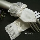 French lace ivory Bridal Gloves ; cute bow finger-less Bride Gloves #17iw