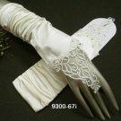 French lace crystal Bridal Gloves ;satin finger-less Bride Gloves #67i