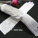 French lace Pearl Bridal Gloves ;satin elbow white Bride Gloves #62w