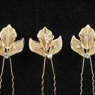 3 PCS BRIDAL HAIRPIN; GOLDEN SPARKLE WEDDING HAIR PIN #1065g