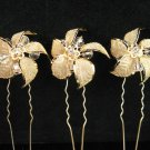 3 PCS BRIDAL HAIRPIN;GOLDEN SPARKLE WEDDING HAIR PIN #1388g