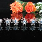 6 PCS BRIDAL HAIRPIN;SILVER SPARKLE DAISY BLUE WEDDING HAIR PIN #1965b