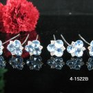 6 PCS BRIDAL HAIRPIN;SILVER CRYSTAL BLUE WEDDING HAIR PIN #1522b
