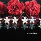 6 PCS BRIDAL HAIRPIN;SILVER IRIDESCENT CRYSTAL WEDDING HAIR PIN #1972