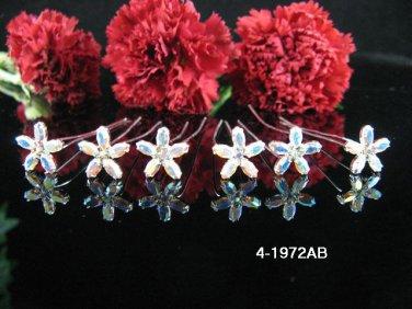6 PCS BRIDAL HAIRPIN;SILVER IRIDESCENT CRYSTAL WEDDING HAIR PIN #1972