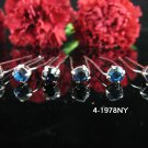 6 PCS BRIDAL HAIRPIN;SILVER  NAVY CRYSTAL WEDDING HAIR PIN #1978NY