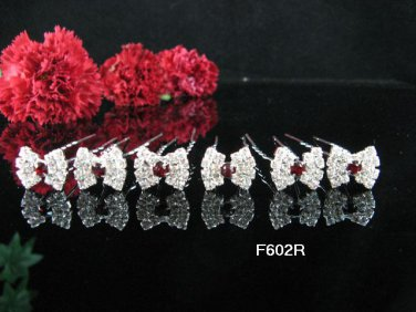 6 PCS CUTE BOW BRIDAL HAIRPIN;SILVER RED CRYSTAL WEDDING HAIR PIN #602r