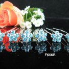 6 PCS CUTE BOW BRIDAL HAIRPIN;SILVER BLUE CRYSTAL WEDDING HAIR PIN #606b