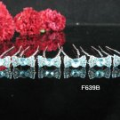 6 PCS CUTE BOW BRIDAL HAIRPIN;SILVER BLUE CRYSTAL WEDDING HAIR PIN #639b