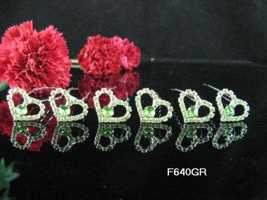 6 PCS CUTE BOW BRIDAL HAIRPIN;SILVER GREEN CRYSTAL WEDDING HAIR PIN #640GR