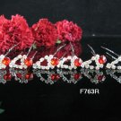 6 PCS BRIDAL HAIRPIN;SILVER CRYSTAL RED WEDDING HAIR PIN #763r