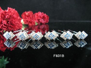 6 PCS BRIDAL HAIRPIN;SILVER CRYSTAL RUBY BLUE WEDDING HAIR PIN #831b