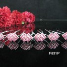 6 PCS BRIDAL HAIRPIN;SILVER CRYSTAL PINK WEDDING HAIR PIN #831P