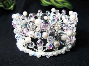 Silver Crystal Small Crown ;Delicate Handmade Pink Tiara Regal #4216