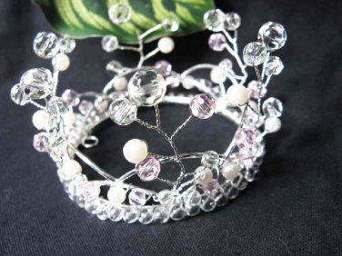 Silver Crystal Small Crown ;Delicate Handmade Pink Tiara Regal #4217
