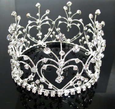 Bridal Bride Silver Crystal Small Crown ;Delicate Handmade Tiara Regal ;wedding hat #4335