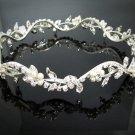 Bridal Bride Silver Crystal Small Crown ;Delicate Silver Pearl Tiara Regal ;wedding headpiece#6080