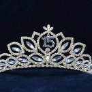Silver Sweet 15 Swarovski Crystal Happy Birthday Tiara;Fashion Crown #1038
