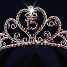 Silver Sweet 15 Rhinestone Crystal Happy Birthday Tiara;Fashion Crown #1048r
