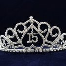 Silver Sweet 15 Rhinestone Crystal Happy Birthday Tiara;Fashion Crown #1050
