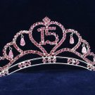 Silver Sweet 15 Rhinestone Crystal Happy Birthday Tiara;Fashion Crown #1051
