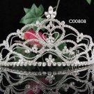 Huge Crystal Rhinestone Bridal Tiara ;Sparkle Beautiful Silver Wedding Tiara; Bride Regal#808
