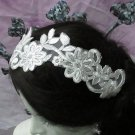 Floral Lace Wedding Headpiece;Ivory Floral Bridal Tiara ; Bride Headpiec#19