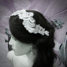 Floral Lace Wedding Headpiece;Ivory Floral Bridal Tiara ; Bride Headpiec#18