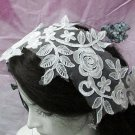 French Lace Wedding Headpiece;Ivory Floral Bridal Tiara ; Bride Headpiece#1