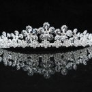 Elegance Sparkle Crystal Bridal Tiara ; Silver Rhinestone Wedding Headpiece;Floral bride tiara#411