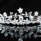 Elegance Sparkle Crystal Bridal Tiara ; Silver Rhinestone Wedding Headpiece;Pink bride tiara#510