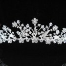 Elegance Sparkle Crystal Bridal Tiara ; Silver Rhinestone Wedding Headpiece;Pink bride tiara#563