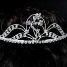 Elegance Floral Bridal Tiara;Silver Rhinestone Wedding Headpiece;bride Hair accessories #3851