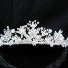 Floral Pearl Bridal Tiara;Silver Rhinestone Wedding Headband ;bride Hair accessories#1328
