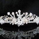 Floral Daisy Bridal Tiara;Silver Rhinestone Wedding Headband ;bride Hair accessories#1333