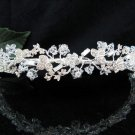 Floral Daisy Bridal Tiara;Silver Rhinestone Wedding Headband ;bride Hair accessories#1338
