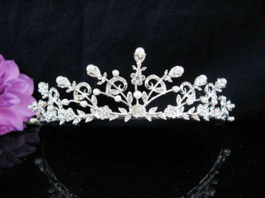 Floral Bridal Tiara;Silver Alloy Rhinestone Wedding Headband ;bride Hair accessories#1344