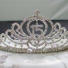 Huge 15 or 16 Birthday Tiara;Silver Sweetheart Crystal Occasion Tiara;Fashion Hair accessories#7573