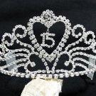 Silver Sweetheart Crystal Occasion Tiara;Huge 15 or 16 Birthday Tiara;Fashion Hair accessories#9032